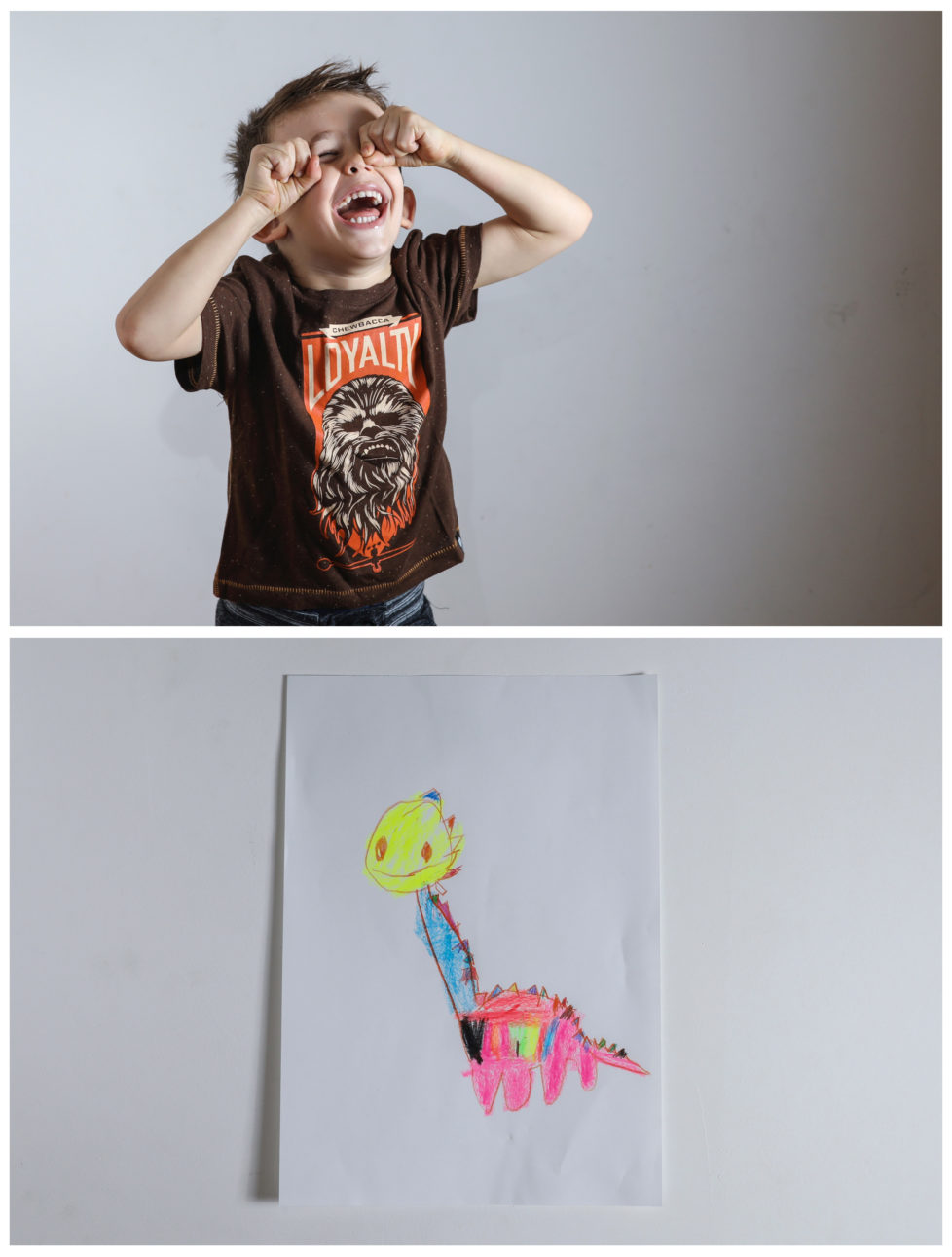 """A combination picture shows Maxim, almost 4, laughing at his apartment as he poses for a photograph (top) and his drawing of what he wants to get for Christmas from Santa in Belgrade, Serbia, November 23, 2016. Maxim said he would like to get a plastic dinosaur. Reuters photographers around the world asked children to draw what they wanted to receive from Santa for Christmas. REUTERS/Marko Djurica SEARCH """"CHRISTMAS WISHES"""" FOR THIS STORY. SEARCH """"WIDER IMAGE"""" FOR ALL STORIES. TPX IMAGES OF THE DAY - RTSV36W"""