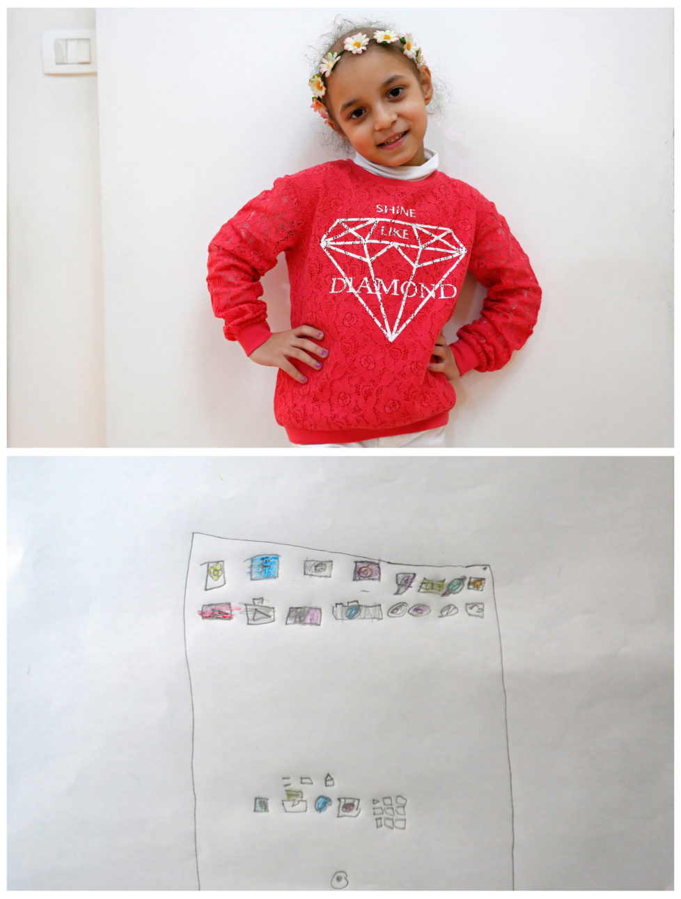 """A combination picture shows Lynn Habbouche, 6, suffering from leukaemia, posing for a photograph at her home (top) and her drawing of what she wants to get for Christmas from Santa, in Beirut, Lebanon November 26, 2016. All she wants from Santa is to recover and an iPad, she said. Reuters photographers around the world asked children to draw what they wanted to receive from Santa for Christmas. REUTERS/Jamal Saidi SEARCH """"CHRISTMAS WISHES"""" FOR THIS STORY. SEARCH """"WIDER IMAGE"""" FOR ALL STORIES. - RTSV356"""