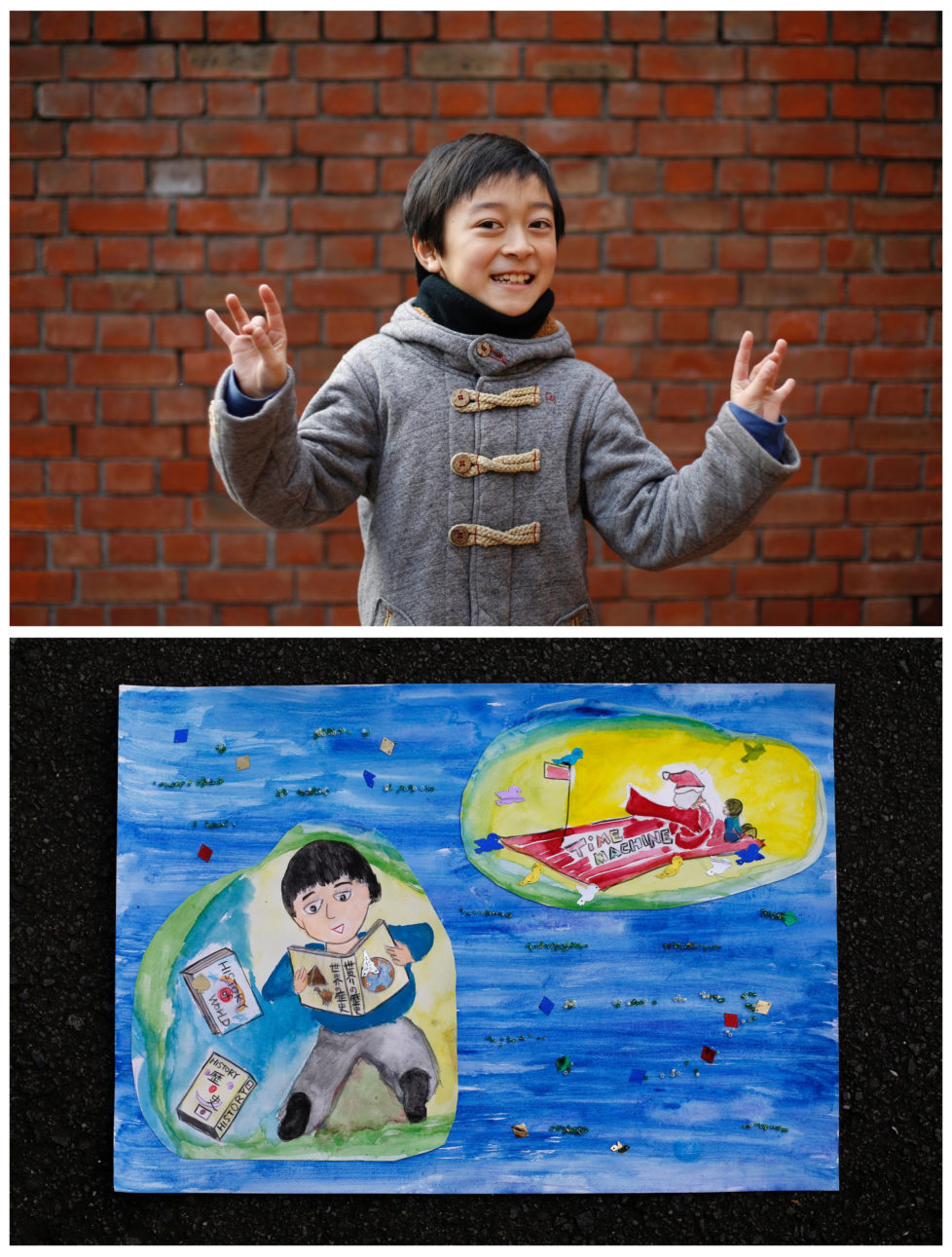 """A combination picture shows Natsuki Ariga, 9, posing for a photograph at a library (top) and his drawing of what he wants to get for Christmas from Santa, in Tokyo, Japan December 1, 2016. Natsuki wants to get comic books on Japanese and world history. """"Santa gives me a present every year for working hard. That's why I practice Electone (Yamaha's electronic organ), abacus and track and field very hard, """" he said. Reuters photographers around the world asked children to draw what they wanted to receive from Santa for Christmas. REUTERS/Toru Hanai SEARCH """"CHRISTMAS WISHES"""" FOR THIS STORY. SEARCH """"WIDER IMAGE"""" FOR ALL STORIES. - RTSV35U"""