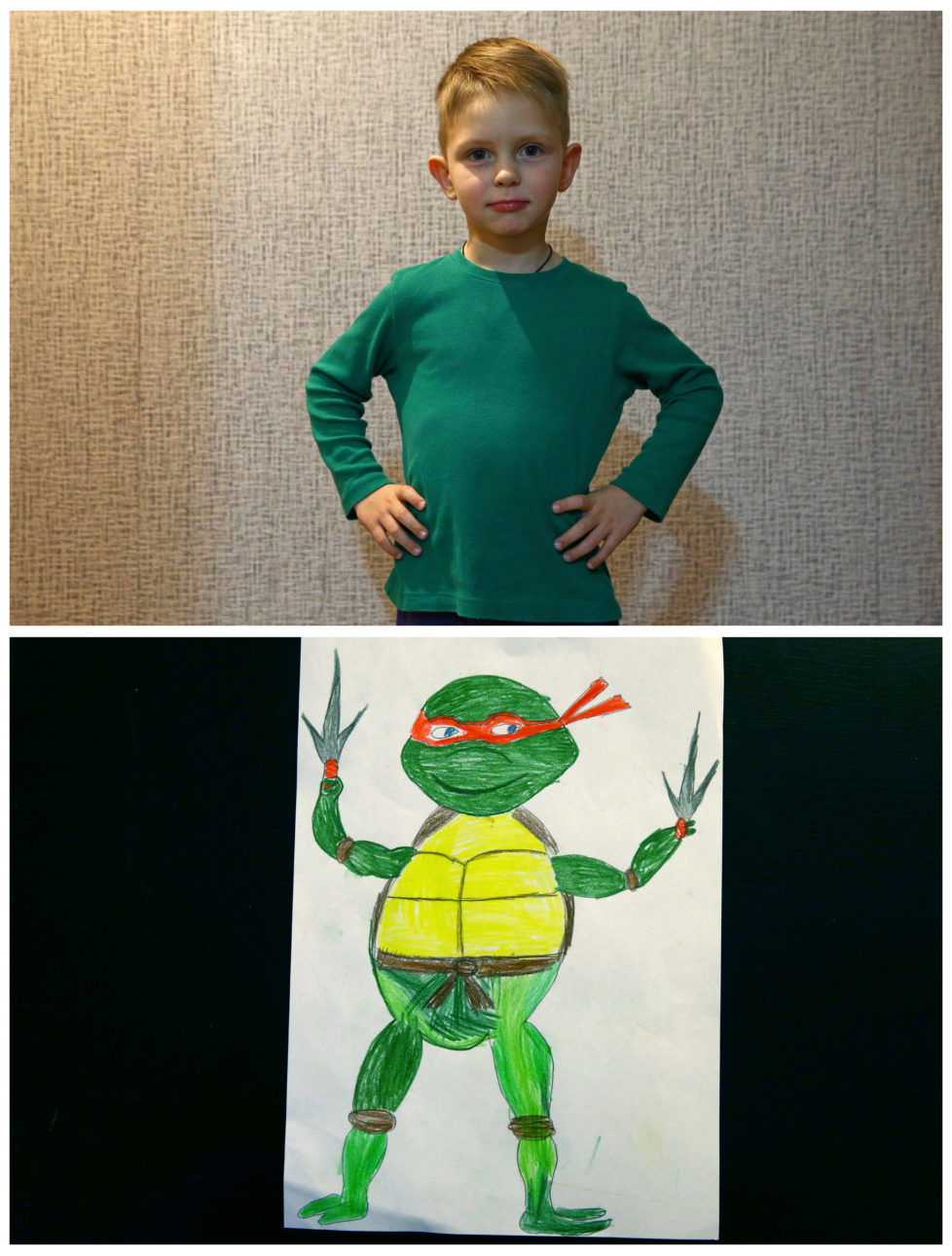 """A combination picture shows Dmitriy Kuchur, 5, posing for a photograph at his house (top) and his drawing of what he wants to get for Christmas from Santa, in Minsk, Belarus, November 23, 2016. Dmitriy wants Teenage Mutant Ninja Turtles. Reuters photographers around the world asked children to draw what they wanted to receive from Santa for Christmas. REUTERS/Vasily Fedosenko SEARCH """"CHRISTMAS WISHES"""" FOR THIS STORY. SEARCH """"WIDER IMAGE"""" FOR ALL STORIES. - RTSV37N"""