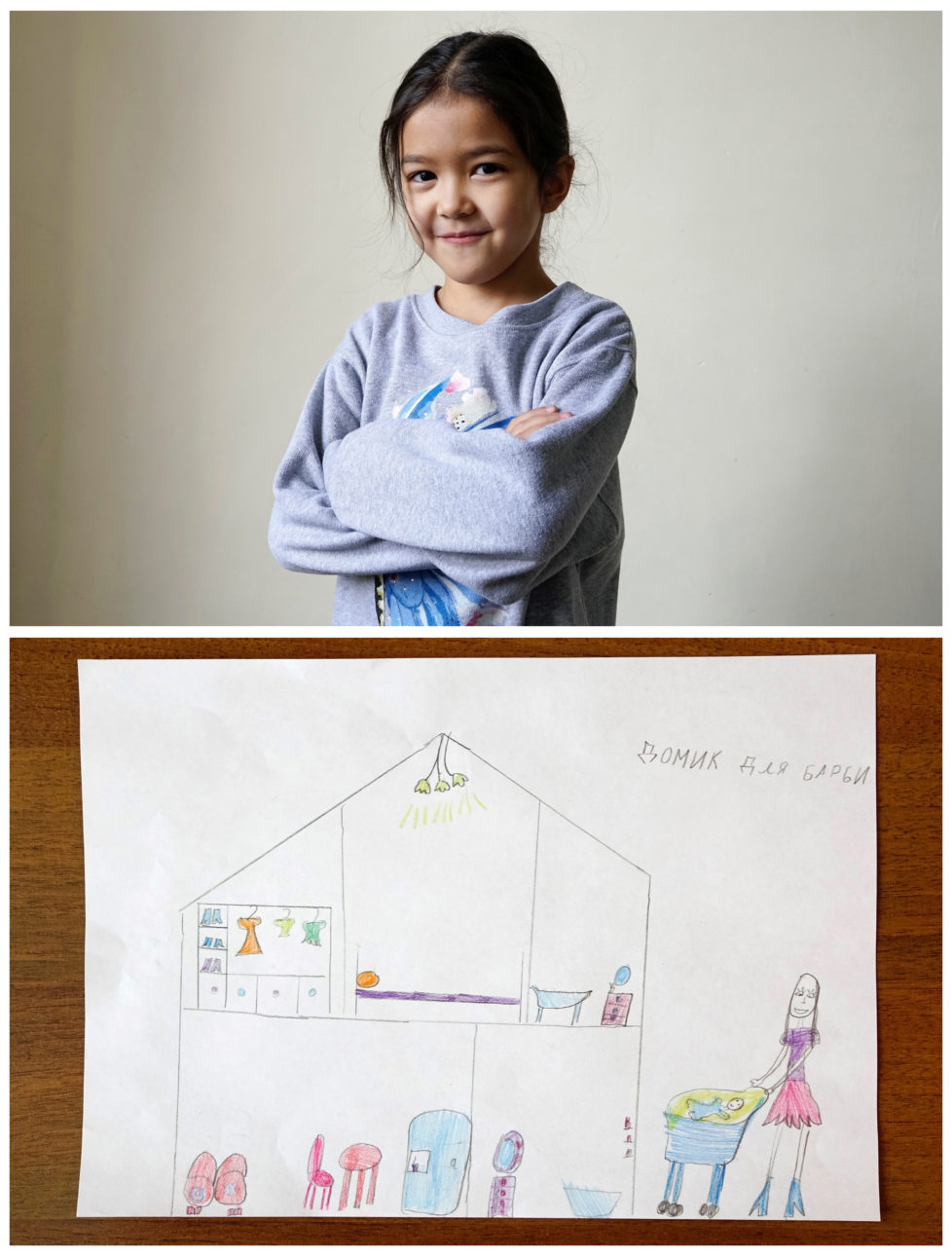 """A combination picture shows Adina Serikbayeva, 7, posing for a photograph at musical school before her piano lesson (top) and her drawing of what she wants to get for Christmas from Santa, in Almaty, Kazakhstan, November 24, 2016. Adina dreams to get a house for her Barbie doll. Writing on the drawing reads: """"House for Barbie."""" Reuters photographers around the world asked children to draw what they wanted to receive from Santa for Christmas. REUTERS/Shamil Zhumatov SEARCH """"CHRISTMAS WISHES"""" FOR THIS STORY. SEARCH """"WIDER IMAGE"""" FOR ALL STORIES. - RTSV35X"""