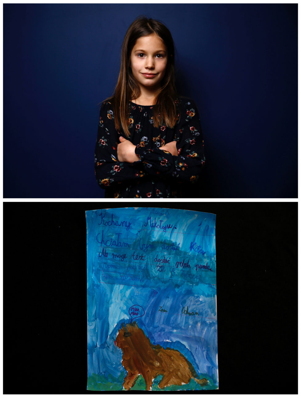 """A combination picture shows Zofia, 8, posing for a photograph November 23, 2016 (top) and her drawing of what she wants to get for Christmas from Santa, in Warsaw, Poland November 24, 2016. """"Dear Santa, I would like to get a cat. But a Robopanda would be ok too. I hope to see you this time. Zosia."""" she wrote. Reuters photographers around the world asked children to draw what they wanted to receive from Santa for Christmas. REUTERS/Kacper Pempel SEARCH """"CHRISTMAS WISHES"""" FOR THIS STORY. SEARCH """"WIDER IMAGE"""" FOR ALL STORIES. TPX IMAGES OF THE DAY. - RTSV37I"""
