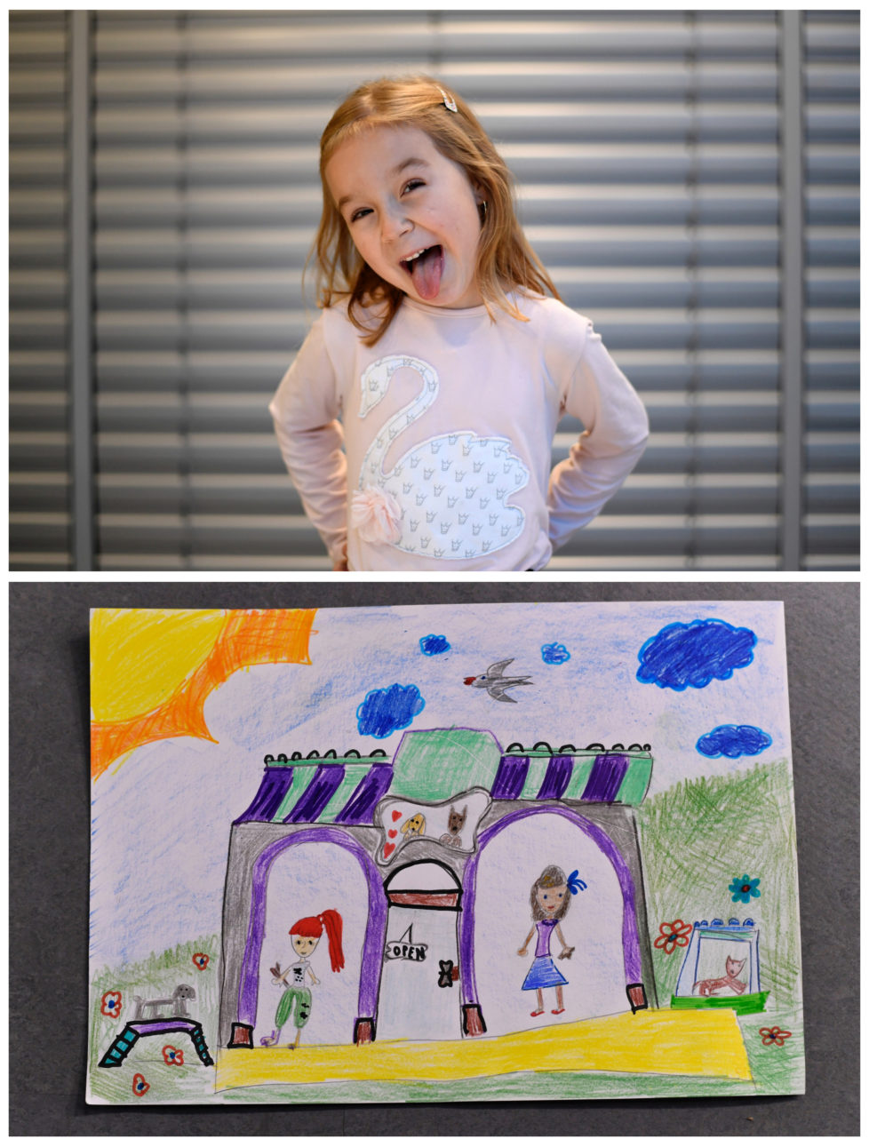 """A combination picture shows Nela Ragulova, 6, posing for a photograph (top) and her drawing of what she wants to get for Christmas from Santa, in Trencianske Stankovce, Slovakia, November 24, 2016. Nela wants Lego construction toys. Reuters photographers around the world asked children to draw what they wanted to receive from Santa for Christmas. REUTERS/Radovan Stoklasa SEARCH """"CHRISTMAS WISHES"""" FOR THIS STORY. SEARCH """"WIDER IMAGE"""" FOR ALL STORIES. - RTSV354"""
