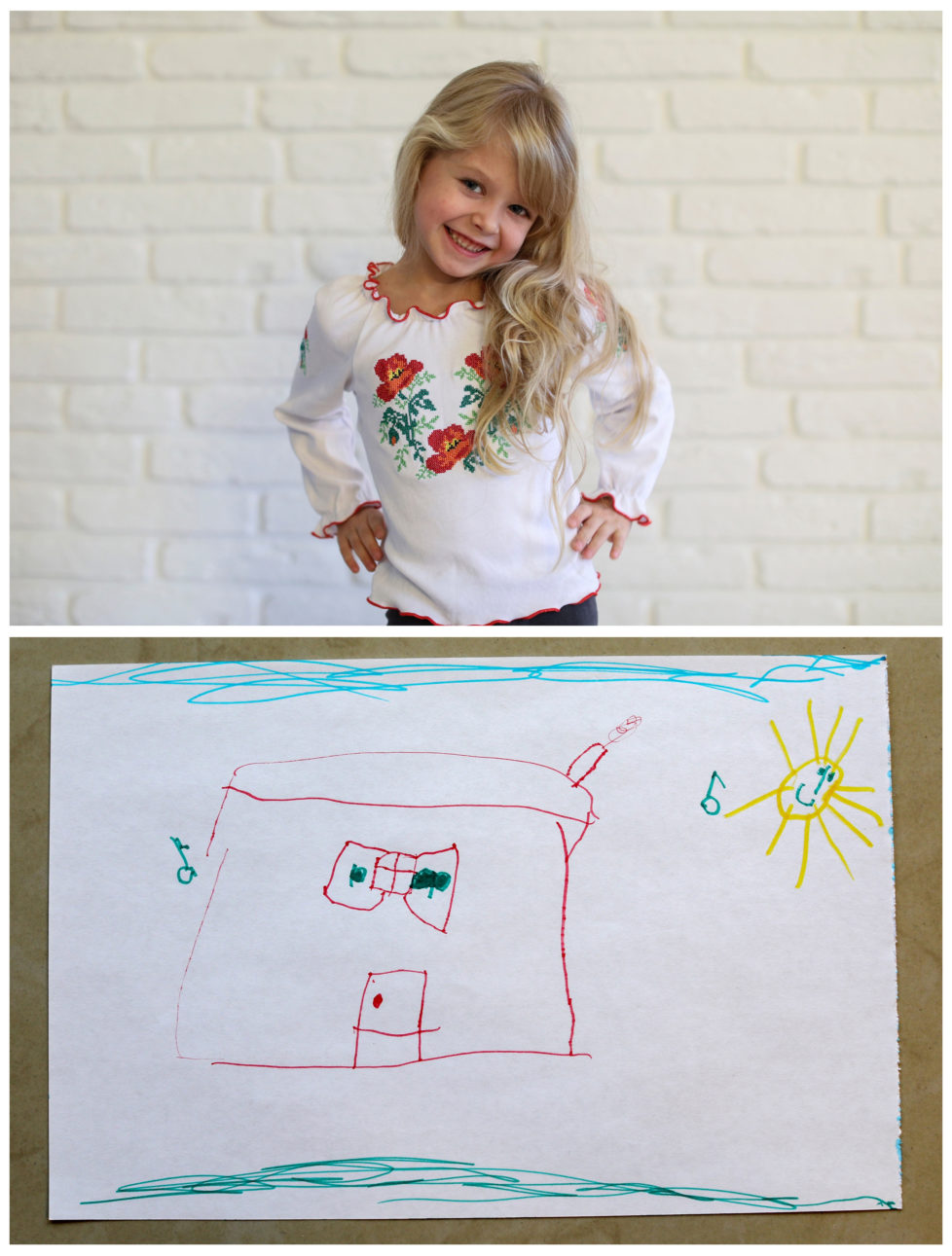 """A combination picture shows Diana Zhaldak, 4, posing for a photograph at her house (top) and her drawing of what she wants to get for Christmas from Santa, near Kiev, Ukraine, November 22, 2016. Diana wants a magical, musical house where she can play. Reuters photographers around the world asked children to draw what they wanted to receive from Santa for Christmas. REUTERS/Gleb Garanich SEARCH """"CHRISTMAS WISHES"""" FOR THIS STORY. SEARCH """"WIDER IMAGE"""" FOR ALL STORIES. - RTSV350"""