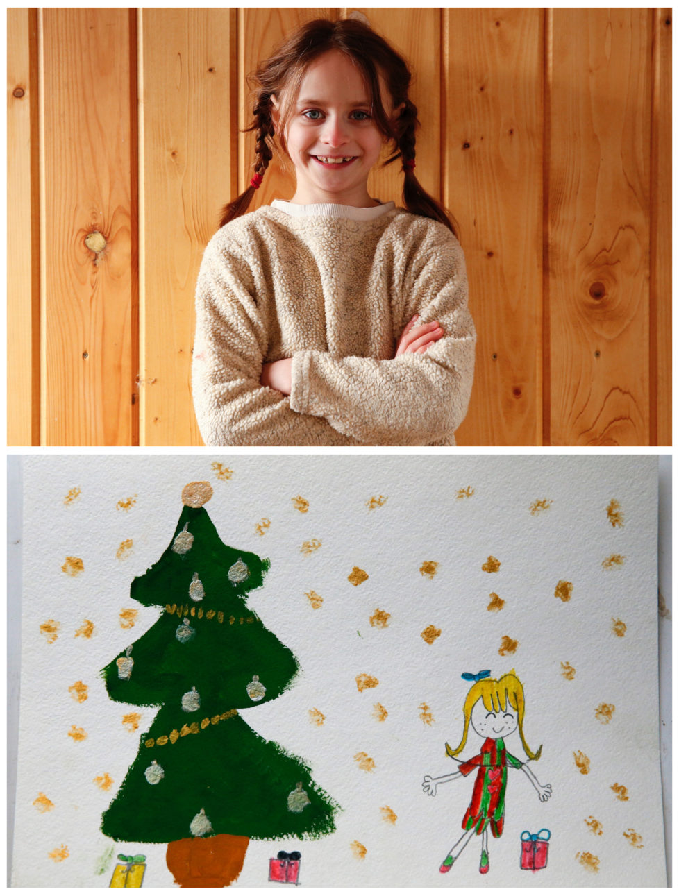 """A combination picture shows Anna Krylova, 7, posing for a photograph at her house (top) and her drawing of what she wants to get for Christmas from Santa, in the settlement of Zagoryansky, outside Moscow, Russia November 25, 2016. Anna wants a Lalaloopsy doll. Reuters photographers around the world asked children to draw what they wanted to receive from Santa for Christmas. REUTERS/Grigory Dukor SEARCH """"CHRISTMAS WISHES"""" FOR THIS STORY. SEARCH """"WIDER IMAGE"""" FOR ALL STORIES. - RTSV35E"""