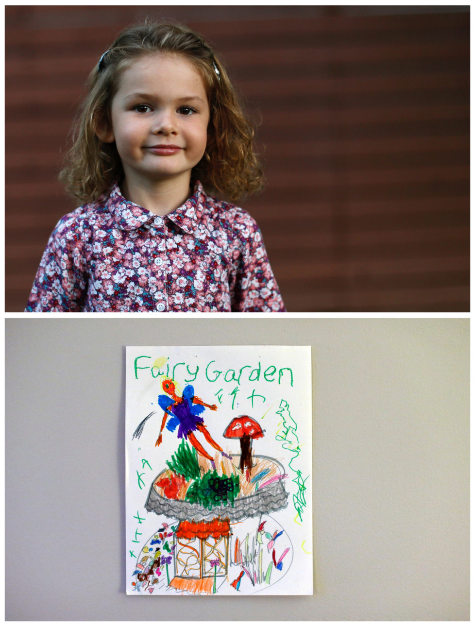 """A combination picture shows Raphaela Bernard, 4, posing for a photograph in the backyard of her home (top) and her drawing of what she wants to get for Christmas from Santa, in Altadena, California U.S., November 27, 2016. Raphaela wants a fairy garden. Reuters photographers around the world asked children to draw what they wanted to receive from Santa for Christmas. REUTERS/Mario Anzuoni SEARCH """"CHRISTMAS WISHES"""" FOR THIS STORY. SEARCH """"WIDER IMAGE"""" FOR ALL STORIES. - RTSV35I"""