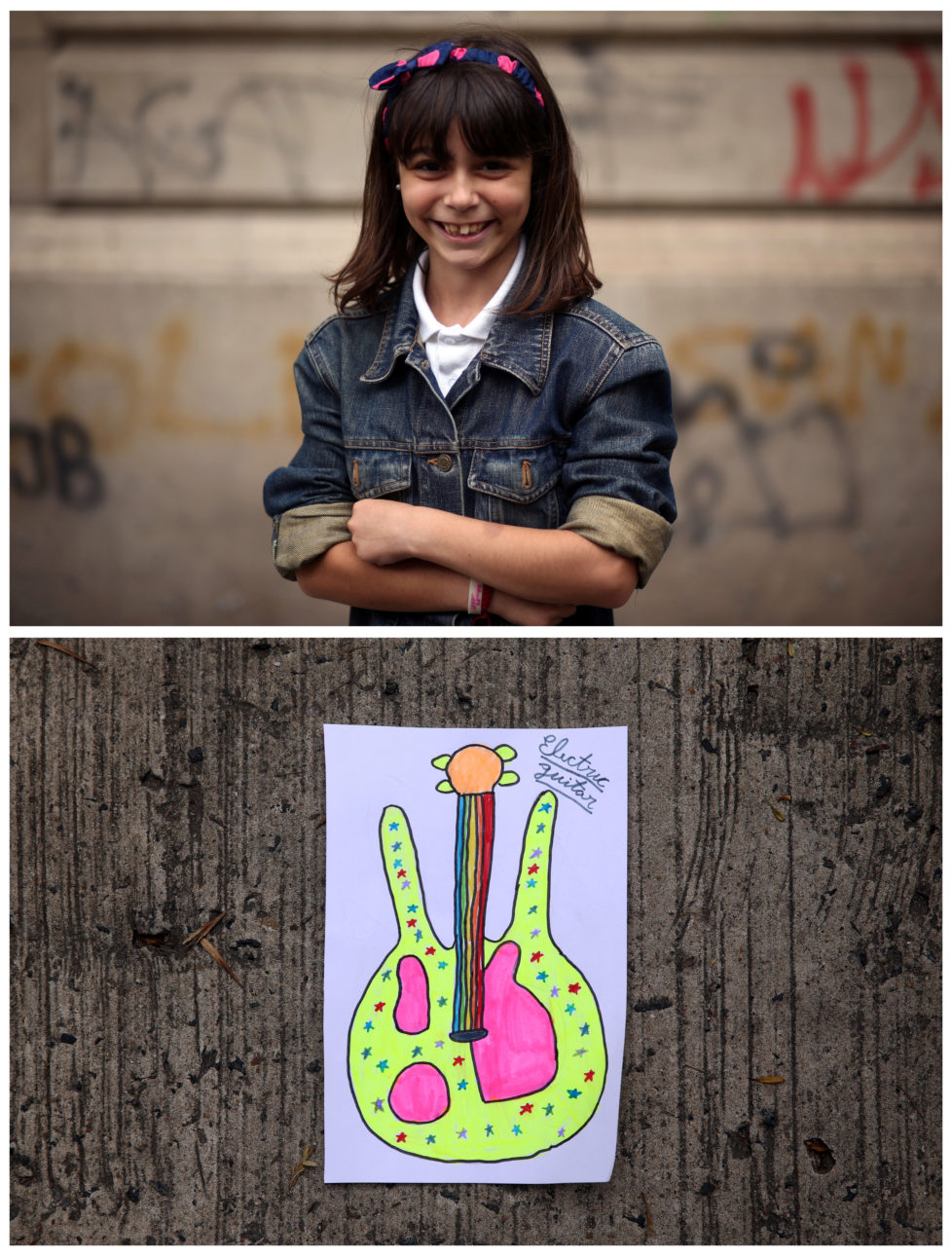 """A combination picture shows Morena Fay, 9, posing for a photograph (top) and her drawing of what she wants to get for Christmas from Santa, in Buenos Aires, Argentina, November 16, 2016. """"I want to ask Papa Noel (Santa Claus) to bring me an electric guitar this Christmas, because I love music and I've wanted one for a long time,"""" Morena said. Reuters photographers around the world asked children to draw what they wanted to receive from Santa for Christmas. REUTERS/Marcos Brindicci SEARCH """"CHRISTMAS WISHES"""" FOR THIS STORY. SEARCH """"WIDER IMAGE"""" FOR ALL STORIES. - RTSV37B"""