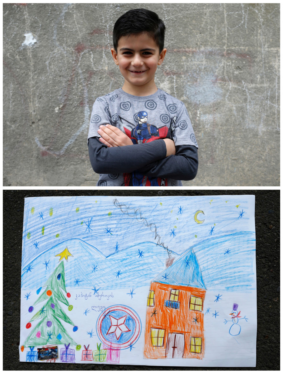 """A combination picture shows Sandro, 6, posing for a photograph (top) and his drawing of what he wants to get from Santa, in Tbilisi, Georgia, November 19, 2016. Sandro wants to get """"Captain America"""" Lego set. He believes Santa can see his drawing and guess what he wants. He is waiting for his gift to be found under the Christmas tree. Reuters photographers around the world asked children to draw what they wanted to receive from Santa for Christmas. REUTERS/David Mdzinarishvili SEARCH """"CHRISTMAS WISHES"""" FOR THIS STORY. SEARCH """"WIDER IMAGE"""" FOR ALL STORIES. - RTSV37X"""