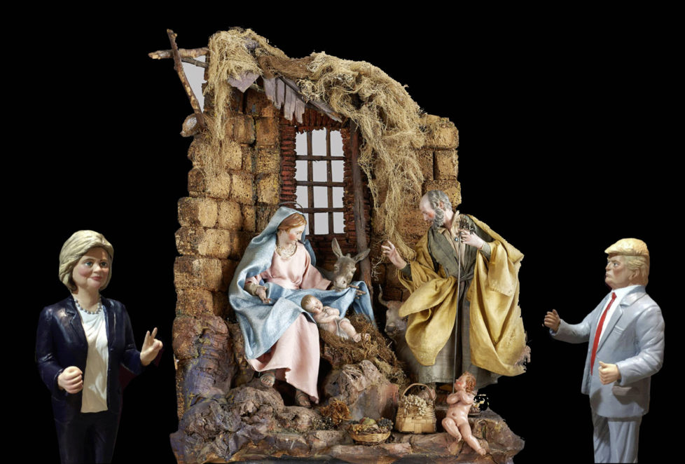 December 9, 2016 - Naples, Italy: Every year for Christmas, the craftsmen of San Gregorio Armeno, a district of Naples, bring in traditional nativity scenes, between the statuettes of the shepherds, the figures of the characters that have most influenced the news of the world. Donald Trump, along with Hillary Clinton, are the novelty of this year's crib. (Piero Oliosi/Polaris) /// *** Local Caption *** 19.05684140