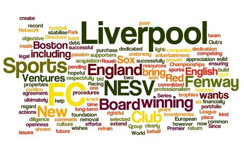 NESV's Übernahmeangebot als Wortwolke