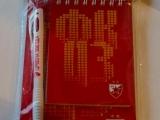 Roter Stern Belgrad Notizbuch und Kugelschreiber