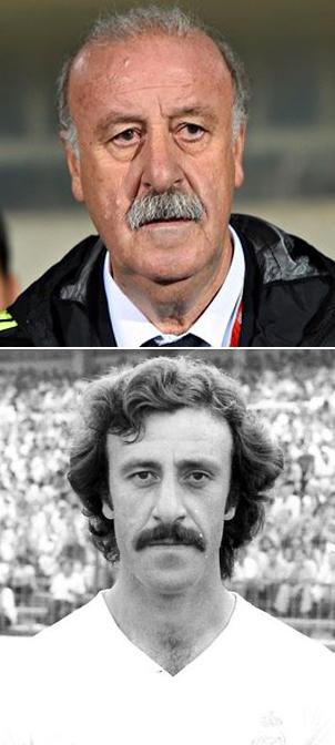 Del Bosque als spanischer Nationaltrainer und als Spieler von Real Madrid.
